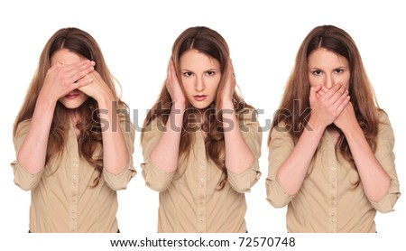 Isolated studio shot of a Caucasian businesswoman in the See No Evil, Hear No Evil, Speak No Evil poses. - stock photo