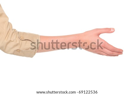 Isolated studio shot of a Caucasian businesswoman reaching out for a handshake. - stock photo
