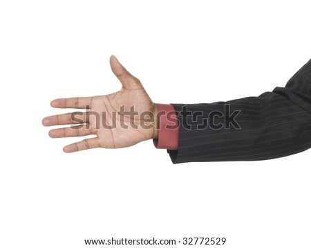Isolated studio shot of a closeup view of an African American man reaching out to shake hands and seal the deal.