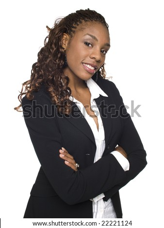 Isolated studio shot of a confident businesswoman looking at the camera with her arms crossed. - stock photo