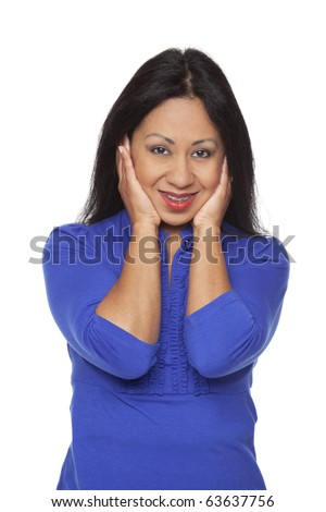 Isolated studio shot of a Latina woman in the Hear No Evil pose. - stock photo