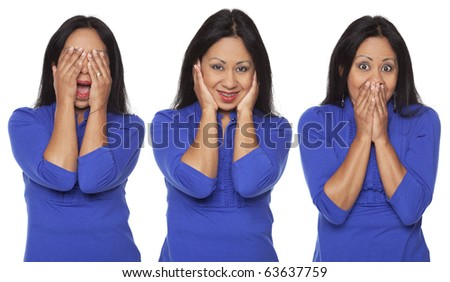 Isolated studio shot of a Latina woman in the See No Evil, Hear No Evil, Speak No Evil poses. - stock photo