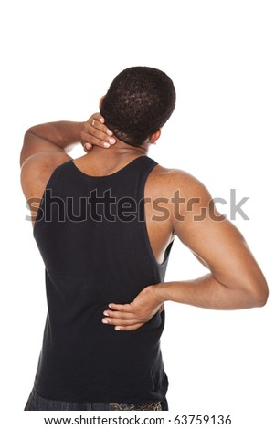 Isolated studio shot of a muscular man in a fitness outfit experiencing neck, shoulder  and back pain.