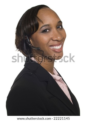 Isolated studio shot of a smiling businesswoman talking on a customer service telephone headset. - stock photo