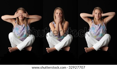 Isolated studio shot of a young woman in the See No Evil, Hear No Evil, Speak No Evil poses. - stock photo