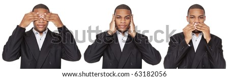 Isolated studio shot of an African American businessman in the See No Evil, Hear No Evil, Speak No Evil poses. - stock photo