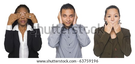 Isolated studio shot of businesspeople in the See No Evil, Hear No Evil, Speak No Evil poses. - stock photo