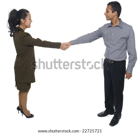 Isolated studio shot of businesspeople shaking hands and greeting each other. - stock photo
