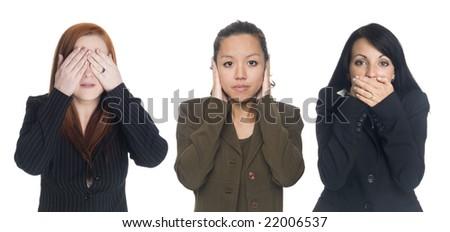 Isolated studio shot of businesswomen in the See No Evil, Hear No Evil, Speak No Evil poses. - stock photo