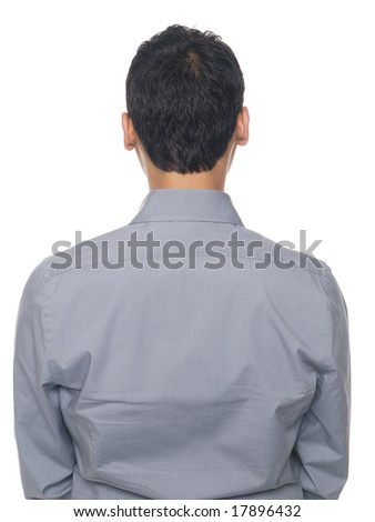 Isolated studio shot of the back of a businessman's torso. - stock photo