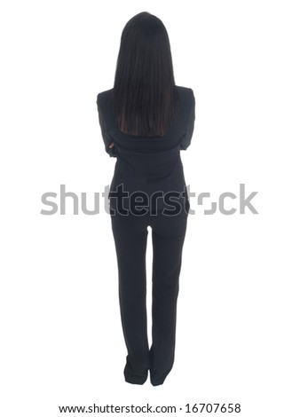 Isolated studio shot of the back side of a businesswoman. - stock photo