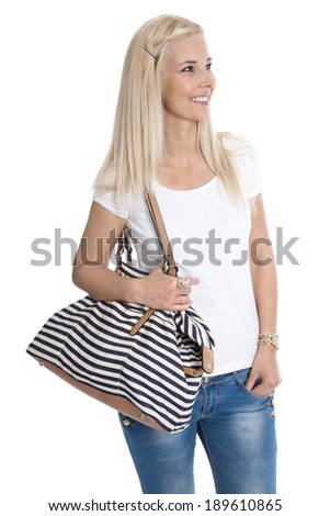 Isolated studio shot of young blonde attractive woman with maritime bag on white.