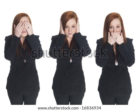 Isolated studio shots of a businesswoman in the See No Evil, Hear No Evil, Speak No Evil poses. - stock photo