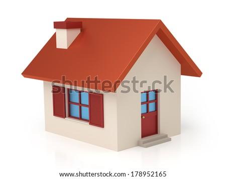 Isolated stylized little house - stock photo