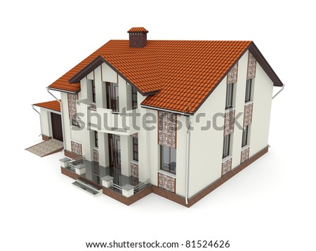 Isolated suburban house. 3d rendered image - stock photo