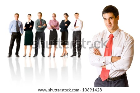 Isolated successful business team, focus on man. To provide maximum quality, I have made this image by combination of seven photos. - stock photo
