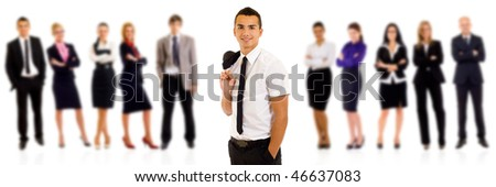 Isolated successful business team, focus on man with coat on shoulder