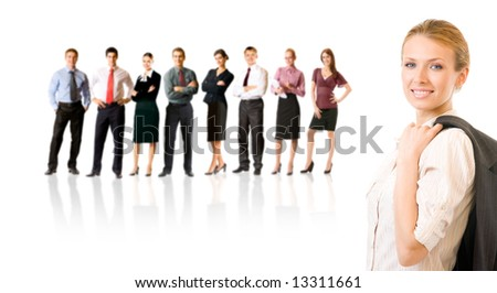 Isolated successful business team, focus on woman. To provide maximum quality, I have made this image by combination of nine photos. - stock photo