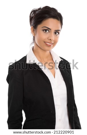 Isolated successful happy indian business woman over white. - stock photo