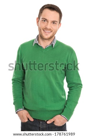 Isolated successful student on white background. - stock photo