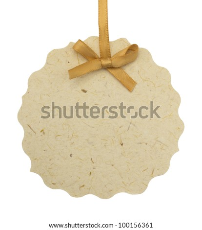 isolated tag or label with ribbon - stock photo