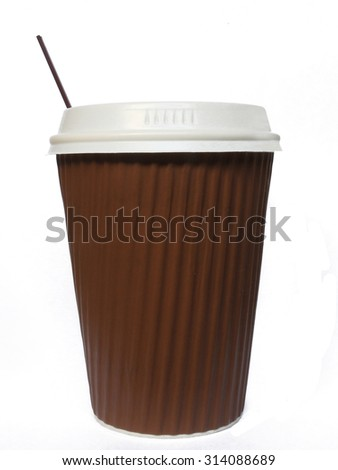 Isolated Takeaway Paper Coffee Cup with Straw