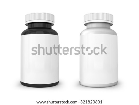Isolated template of white and black bottle