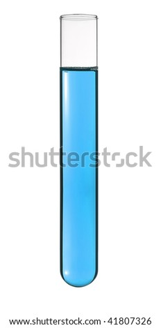 Isolated test tube with a blue liquid. - stock photo