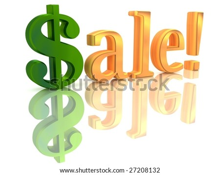 "isolated text ""sale!"", white background"