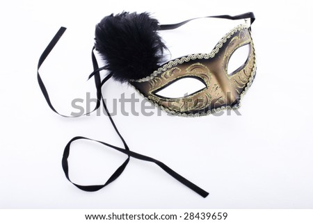 Isolated theatre mask on white background with ribbons - stock photo