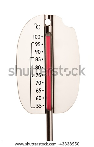 Isolated thermometer showing hundred degrees indicating hot - stock photo