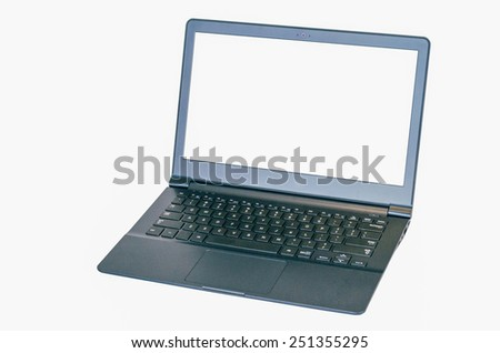 isolated thin ultrabook laptop with two clipping paths, one for laptop one for screen. - stock photo