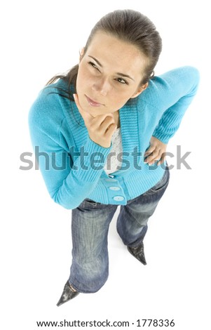isolated thinking woman - stock photo