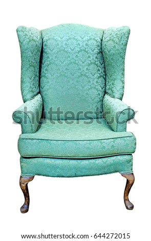 Isolated threadbare green Queen Anne chair. Isolated.