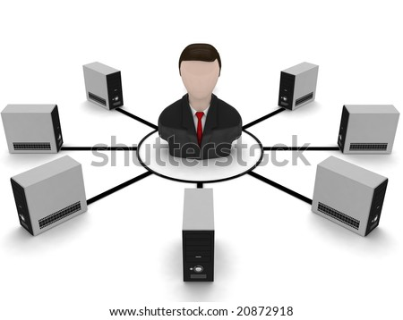 isolated three dimensional businessman and cpu - stock photo