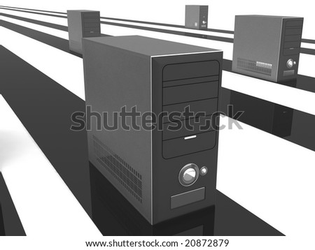 isolated three dimensional cpu with stripes - stock photo