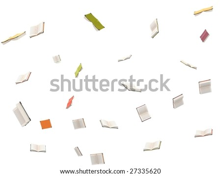 isolated three dimensional flying open books - stock photo