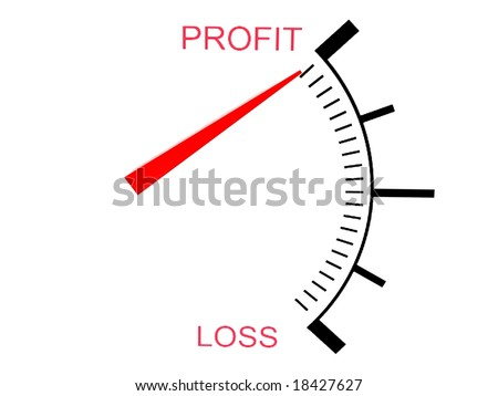 isolated  three dimensional loss and profit gauge - stock photo