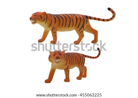 Isolated tiger toy profile and angle view photo. - stock photo