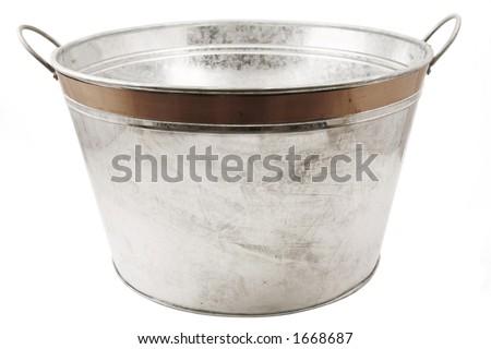 Isolated tin tub on white - stock photo