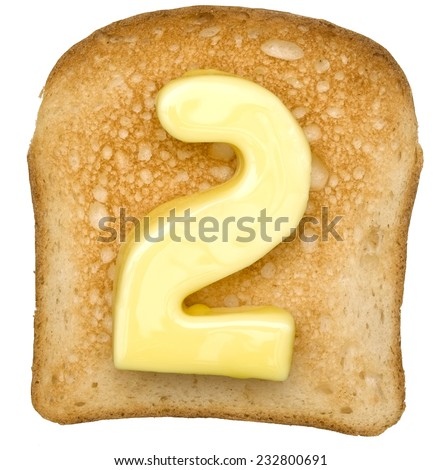 Isolated Toast with butter number 2 - stock photo