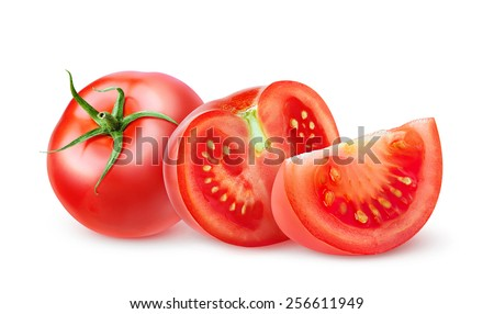 Isolated tomato. Pieces of cut fresh tomatoes over white background, with clipping path