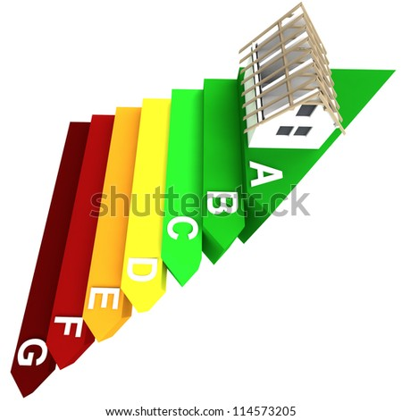 isolated top rated energy concept of new building on stairs render illustration - stock photo
