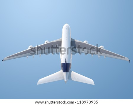 Isolated top rear view of plane taking off with clipping path included - stock photo