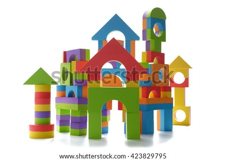 Isolated toy block castle - white background