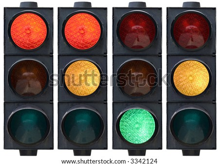 Isolated traffic light in all combinations. Cut and use. - stock photo