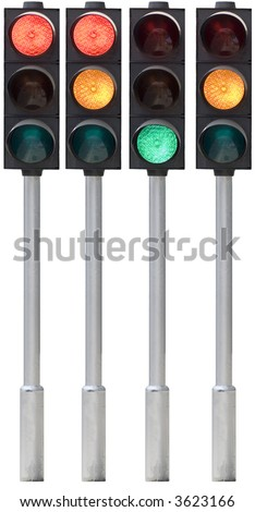 Isolated traffic light on pole in all combinations. Cut and use. - stock photo