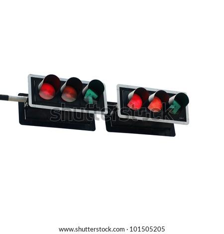 isolated traffic signal - stock photo