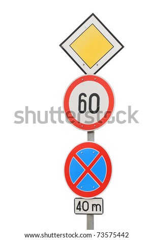 Isolated traffic Signs on natural white background