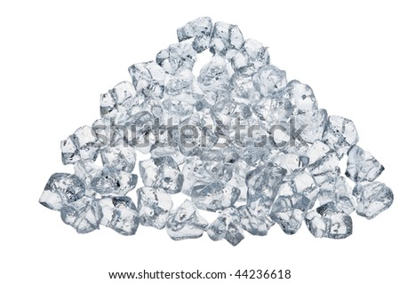 Isolated  translucent ice cubes over white background - stock photo